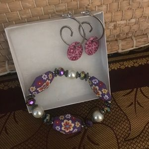 Colorful bracelet and earring set with clay beads